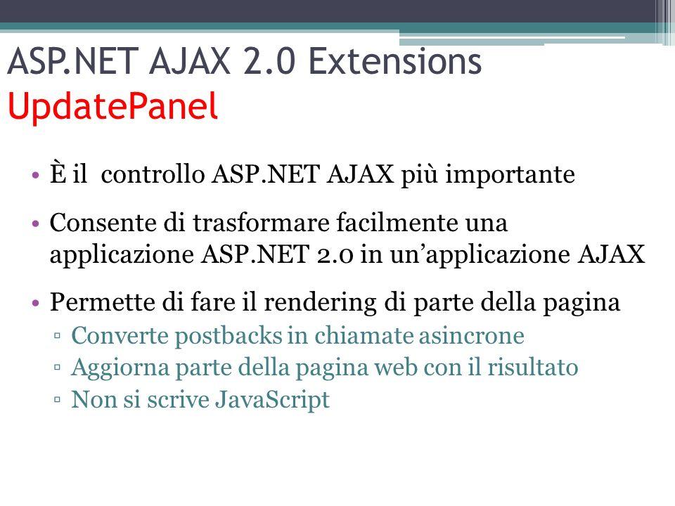 ASP.NET AJAX 2.0 Extensions UpdatePanel È il controllo ASP.NET AJAX più importante Consente di trasformare facilmente una applicazione ASP.NET 2.0 in