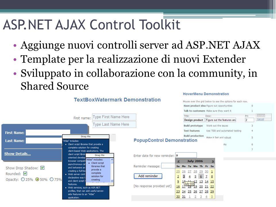 ASP.NET AJAX Control Toolkit Aggiunge nuovi controlli server ad ASP.NET AJAX Template per la realizzazione di nuovi Extender Sviluppato in collaborazi