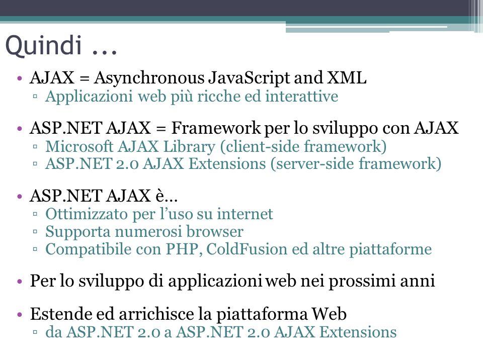Quindi... AJAX = Asynchronous JavaScript and XML Applicazioni web più ricche ed interattive ASP.NET AJAX = Framework per lo sviluppo con AJAX Microsof