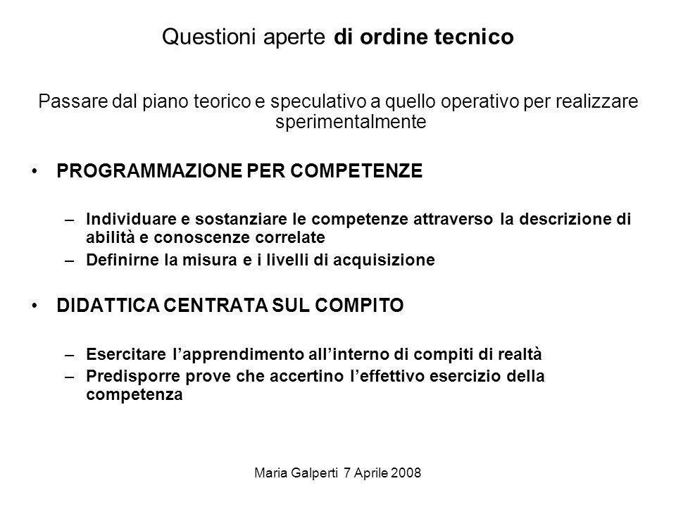 Maria Galperti 7 Aprile 2008 Questioni aperte di ordine tecnico Passare dal piano teorico e speculativo a quello operativo per realizzare sperimentalm