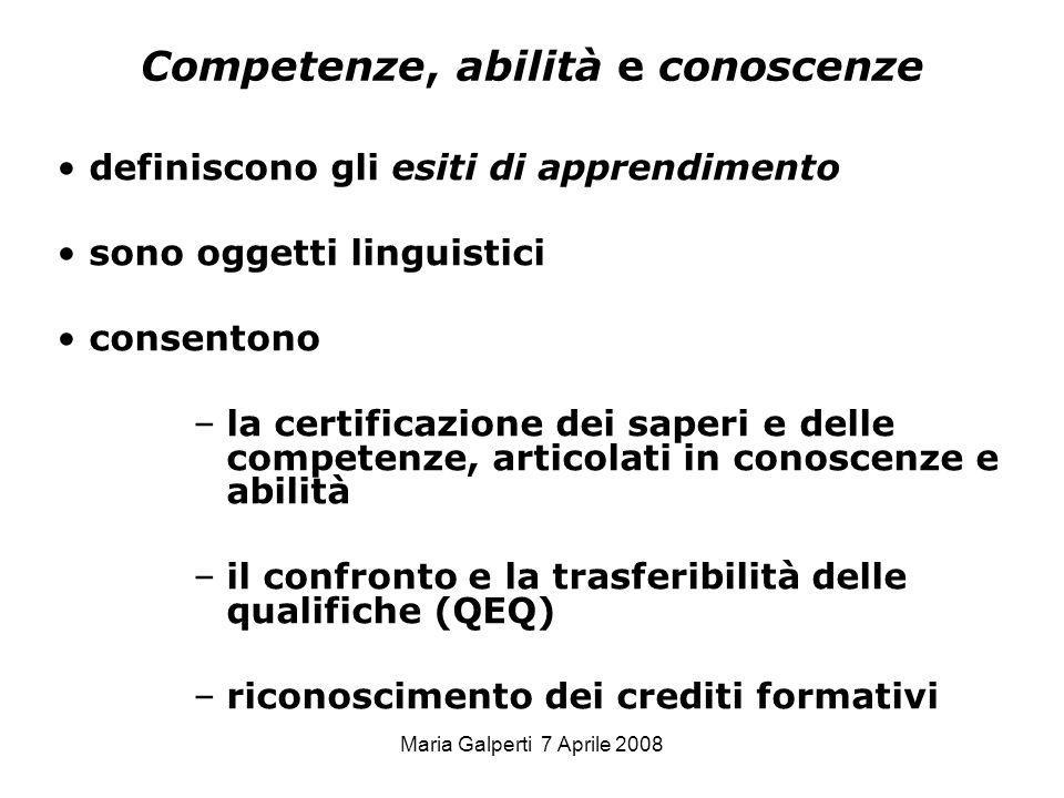 Maria Galperti 7 Aprile 2008 Competenze, abilità e conoscenze definiscono gli esiti di apprendimento sono oggetti linguistici consentono –la certifica