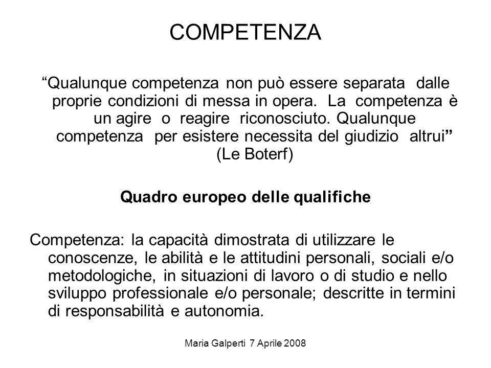 Maria Galperti 7 Aprile 2008 COMPETENZA Qualunque competenza non può essere separata dalle proprie condizioni di messa in opera. La competenza è un ag