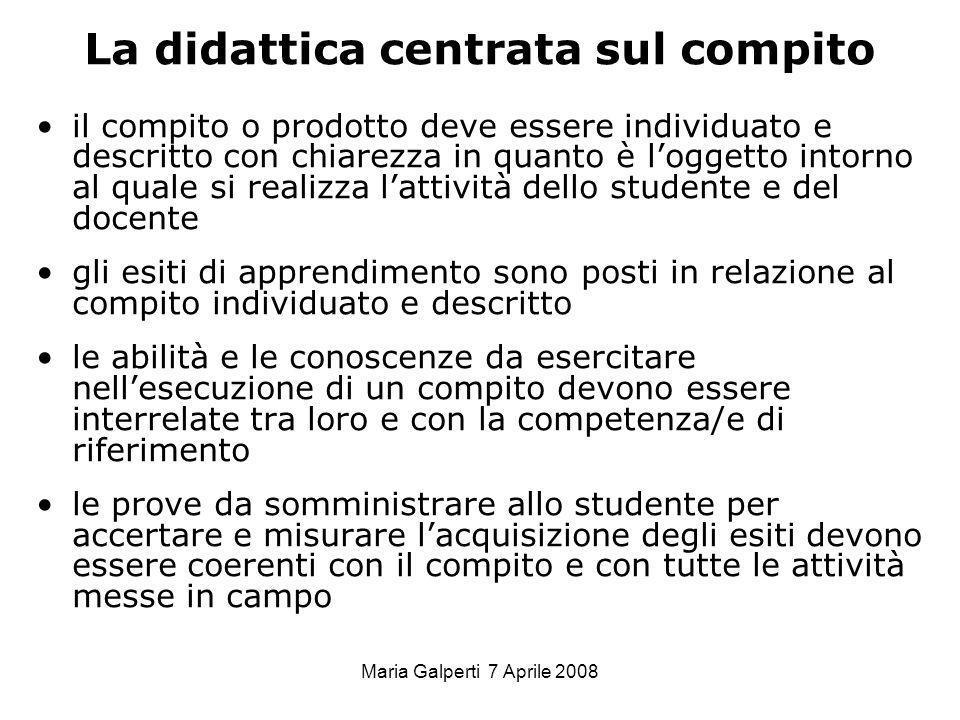 Maria Galperti 7 Aprile 2008 La didattica centrata sul compito il compito o prodotto deve essere individuato e descritto con chiarezza in quanto è log