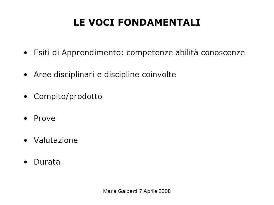 Maria Galperti 7 Aprile 2008 LE VOCI FONDAMENTALI Esiti di Apprendimento: competenze abilità conoscenze Aree disciplinari e discipline coinvolte Compi