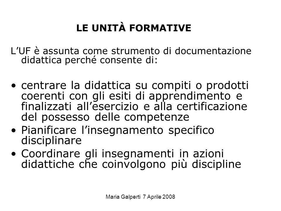 Maria Galperti 7 Aprile 2008 LE UNITÀ FORMATIVE LUF è assunta come strumento di documentazione didattica perché consente di: centrare la didattica su