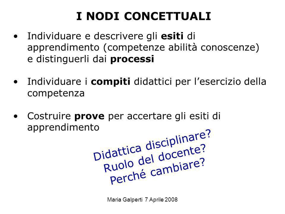 Maria Galperti 7 Aprile 2008 I NODI CONCETTUALI Individuare e descrivere gli esiti di apprendimento (competenze abilità conoscenze) e distinguerli dai
