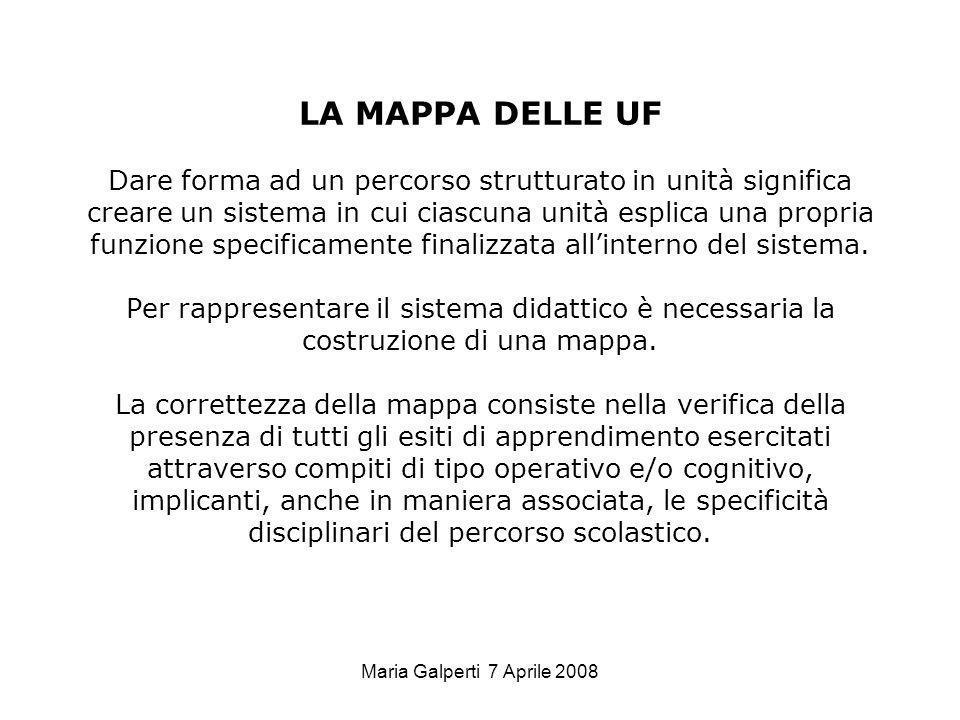 Maria Galperti 7 Aprile 2008 LA MAPPA DELLE UF Dare forma ad un percorso strutturato in unità significa creare un sistema in cui ciascuna unità esplic