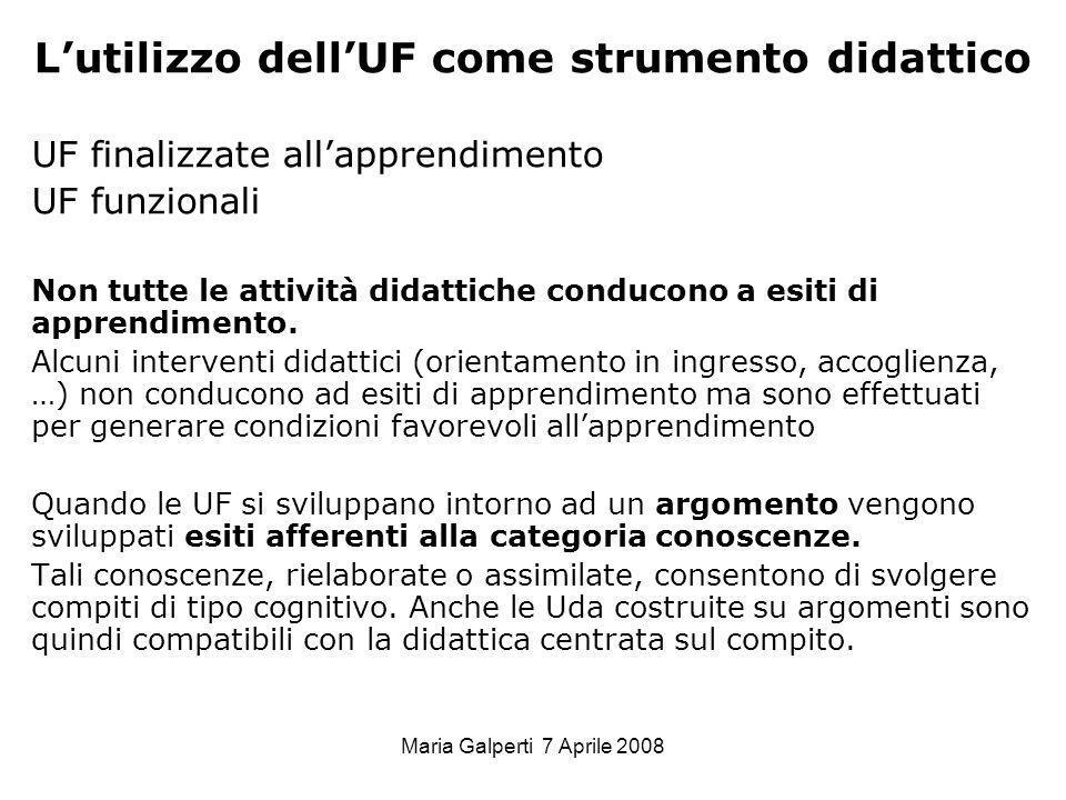Maria Galperti 7 Aprile 2008 Lutilizzo dellUF come strumento didattico UF finalizzate allapprendimento UF funzionali Non tutte le attività didattiche