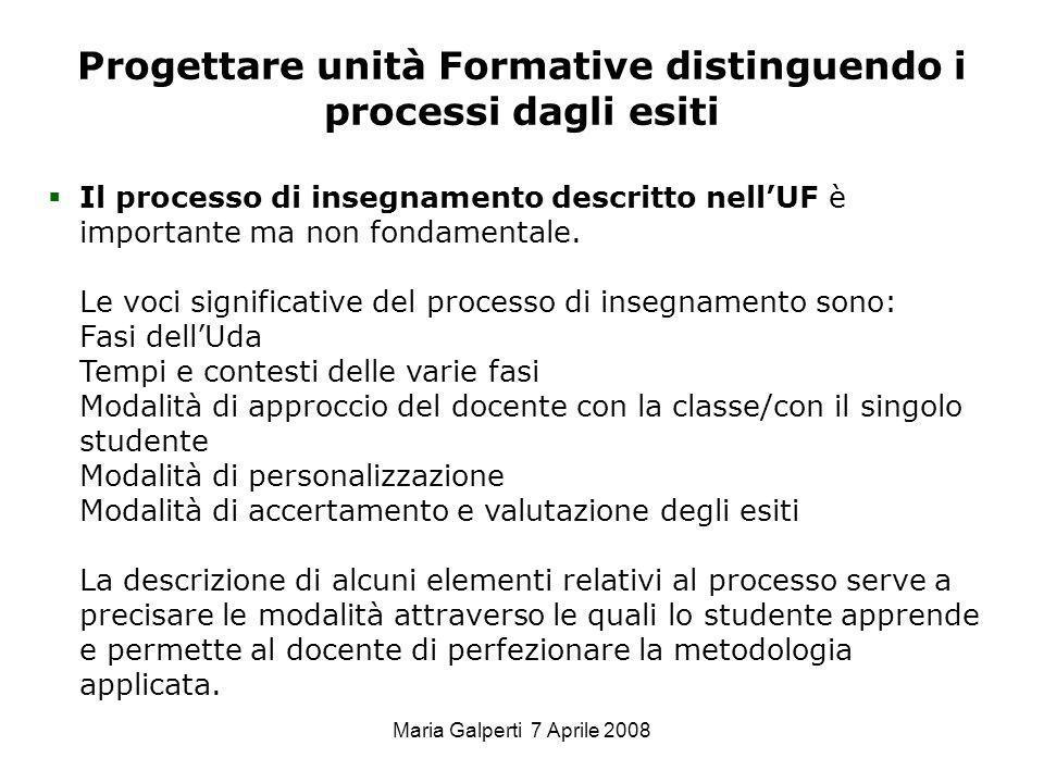 Maria Galperti 7 Aprile 2008 Progettare unità Formative distinguendo i processi dagli esiti Il processo di insegnamento descritto nellUF è importante