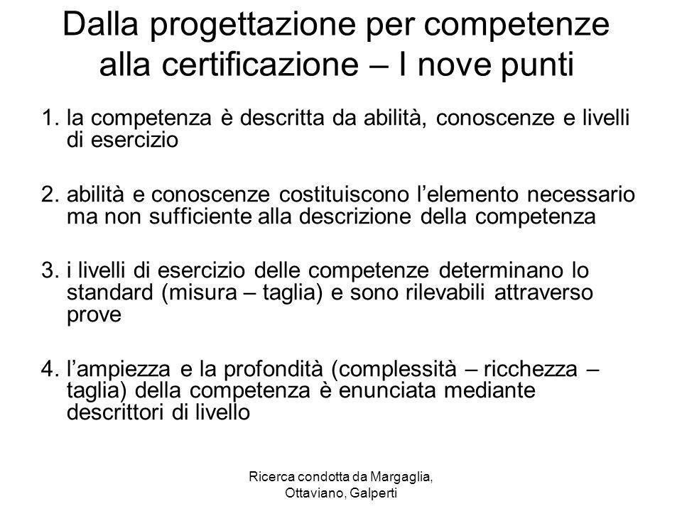 Ricerca condotta da Margaglia, Ottaviano, Galperti Dalla progettazione per competenze alla certificazione – I nove punti 1.la competenza è descritta d