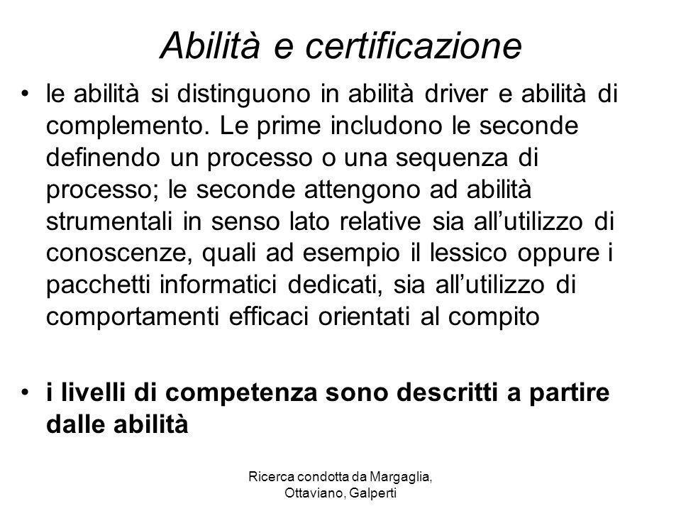 Ricerca condotta da Margaglia, Ottaviano, Galperti Abilità e certificazione le abilità si distinguono in abilità driver e abilità di complemento. Le p