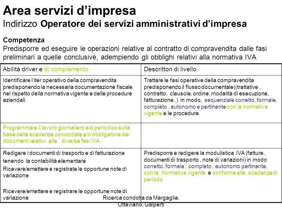 Ricerca condotta da Margaglia, Ottaviano, Galperti Area servizi dimpresa Indirizzo Operatore dei servizi amministrativi dimpresa Competenza Predisporr