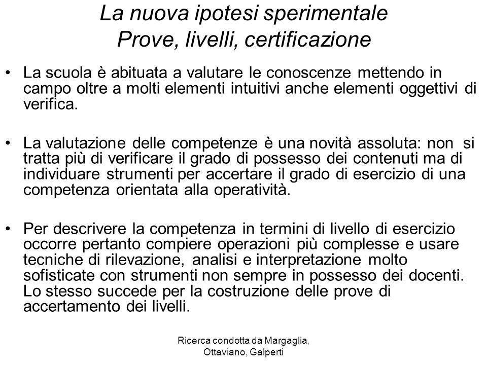 Ricerca condotta da Margaglia, Ottaviano, Galperti La nuova ipotesi sperimentale Prove, livelli, certificazione La scuola è abituata a valutare le con