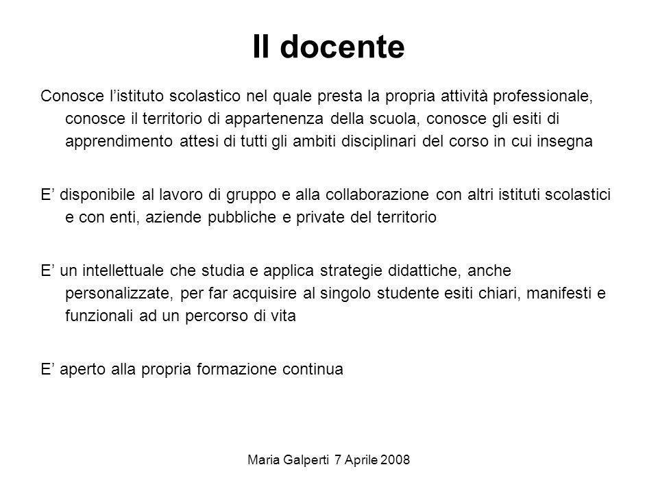 Maria Galperti 7 Aprile 2008 Il docente Conosce listituto scolastico nel quale presta la propria attività professionale, conosce il territorio di appa