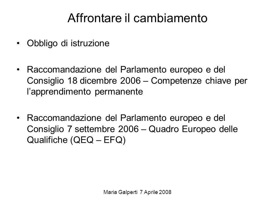 Maria Galperti 7 Aprile 2008 Affrontare il cambiamento Obbligo di istruzione Raccomandazione del Parlamento europeo e del Consiglio 18 dicembre 2006 –