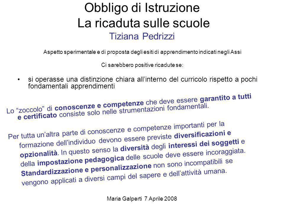Maria Galperti 7 Aprile 2008 Obbligo di Istruzione La ricaduta sulle scuole Tiziana Pedrizzi Aspetto sperimentale e di proposta degli esiti di apprend