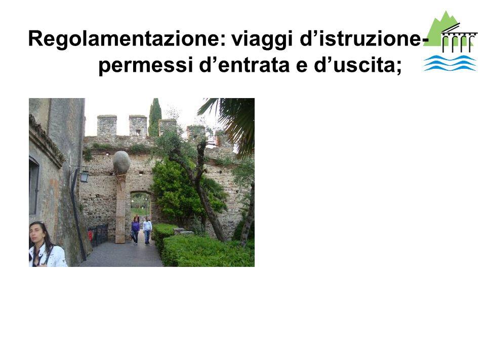 Regolamentazione: viaggi distruzione- permessi dentrata e duscita;