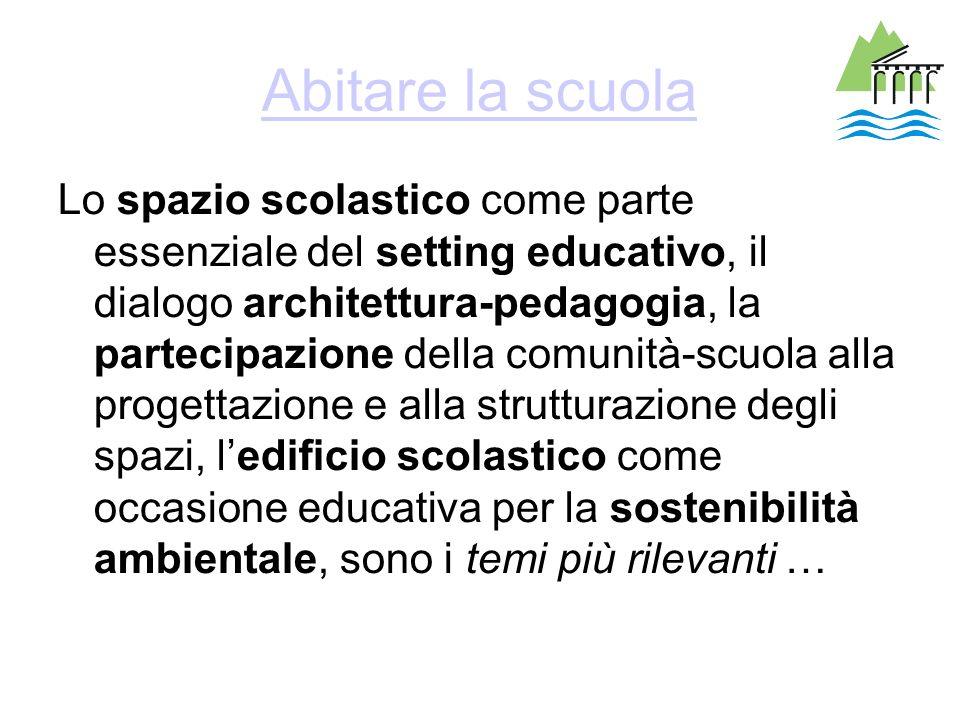 Abitare la scuola Lo spazio scolastico come parte essenziale del setting educativo, il dialogo architettura-pedagogia, la partecipazione della comunit