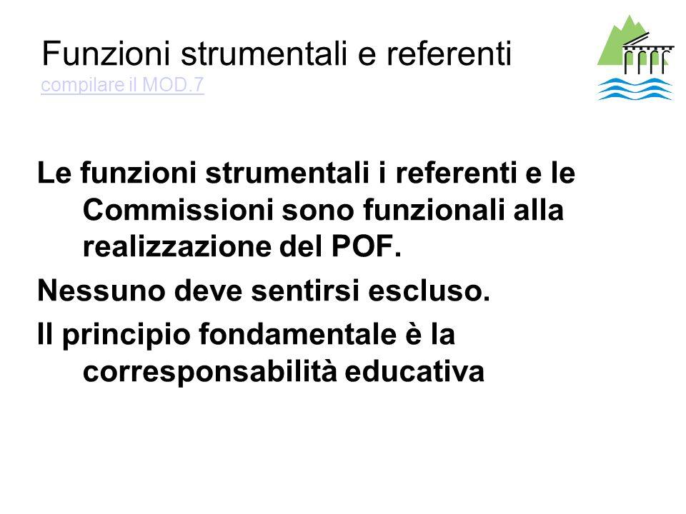 Funzioni strumentali e referenti compilare il MOD.7 compilare il MOD.7 Le funzioni strumentali i referenti e le Commissioni sono funzionali alla realizzazione del POF.