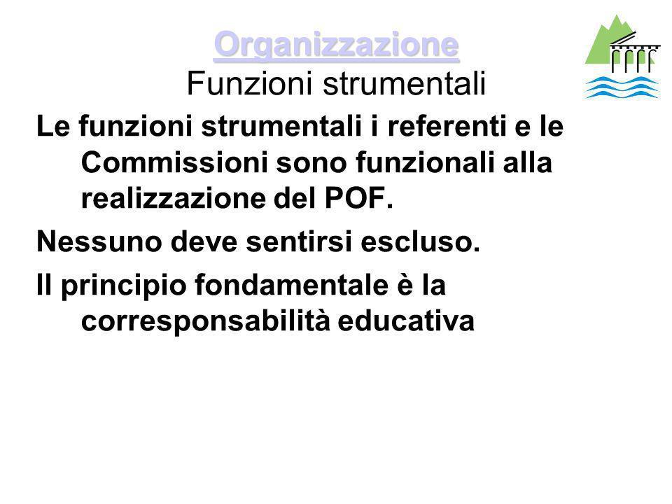 Organizzazione Organizzazione Organizzazione Funzioni strumentali Le funzioni strumentali i referenti e le Commissioni sono funzionali alla realizzazione del POF.