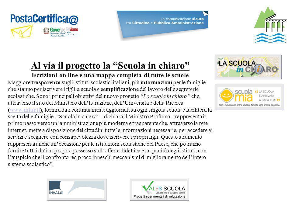 Al via il progetto la Scuola in chiaro Iscrizioni on line e una mappa completa di tutte le scuole Maggiore trasparenza sugli istituti scolastici itali