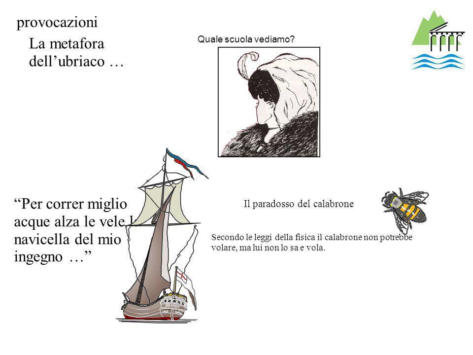 Quale scuola vediamo? Il paradosso del calabrone Secondo le leggi della fisica il calabrone non potrebbe volare, ma lui non lo sa e vola. La metafora