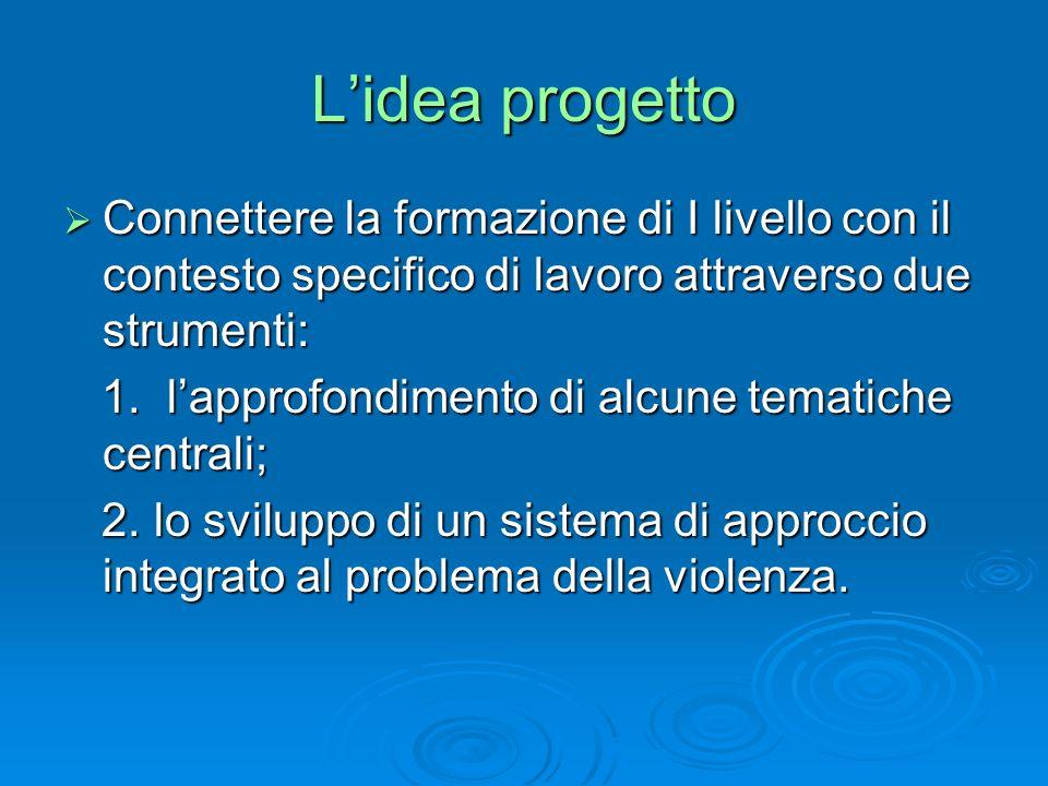 Lidea progetto Connettere la formazione di I livello con il contesto specifico di lavoro attraverso due strumenti: Connettere la formazione di I livello con il contesto specifico di lavoro attraverso due strumenti: 1.