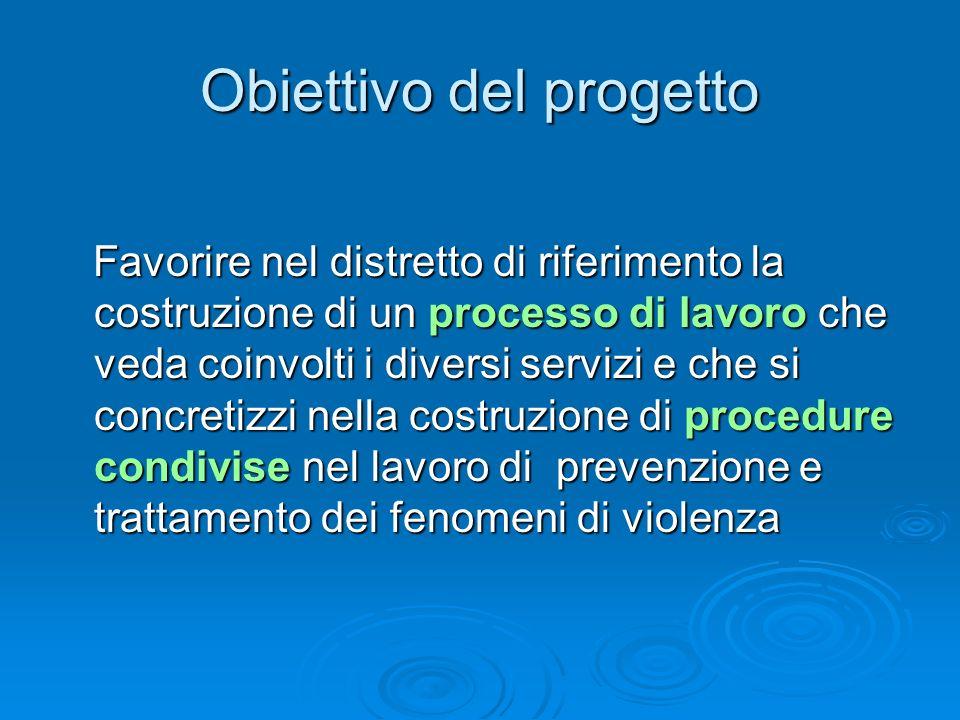Obiettivo del progetto Favorire nel distretto di riferimento la costruzione di un processo di lavoro che veda coinvolti i diversi servizi e che si con