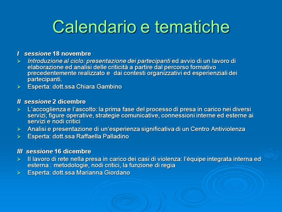 Calendario e tematiche I sessione 18 novembre Introduzione al ciclo: presentazione dei partecipanti ed avvio di un lavoro di elaborazione ed analisi delle criticità a partire dal percorso formativo precedentemente realizzato e dai contesti organizzativi ed esperienziali dei partecipanti.
