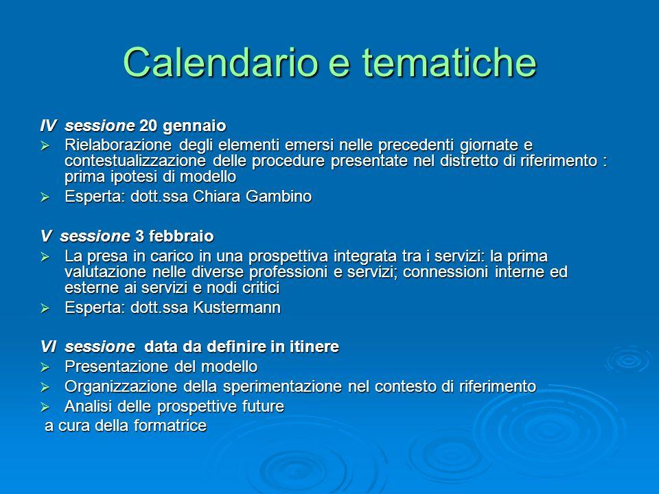 Calendario e tematiche IV sessione 20 gennaio Rielaborazione degli elementi emersi nelle precedenti giornate e contestualizzazione delle procedure pre