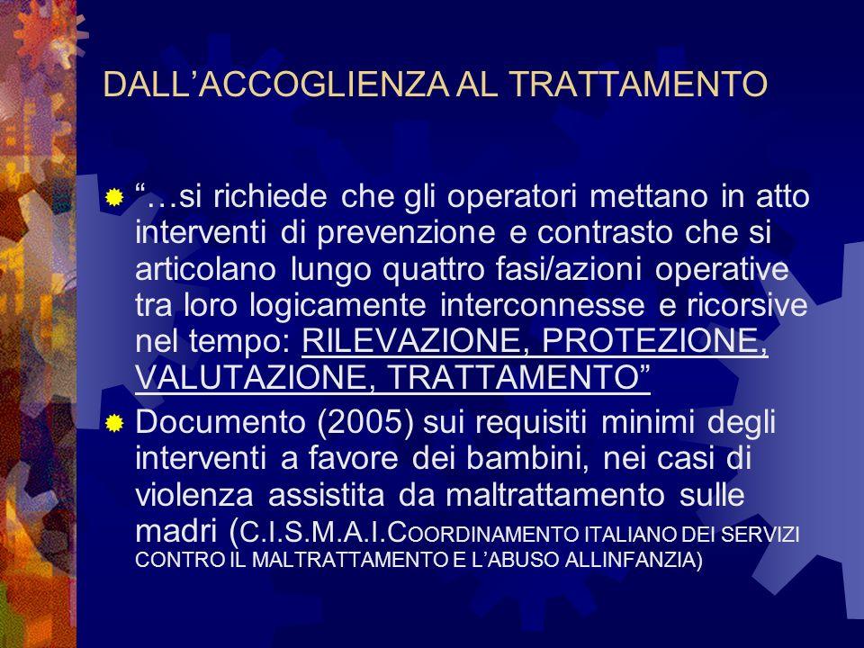 DALLACCOGLIENZA AL TRATTAMENTO …si richiede che gli operatori mettano in atto interventi di prevenzione e contrasto che si articolano lungo quattro fasi/azioni operative tra loro logicamente interconnesse e ricorsive nel tempo: RILEVAZIONE, PROTEZIONE, VALUTAZIONE, TRATTAMENTO Documento (2005) sui requisiti minimi degli interventi a favore dei bambini, nei casi di violenza assistita da maltrattamento sulle madri ( C.I.S.M.A.I.C OORDINAMENTO ITALIANO DEI SERVIZI CONTRO IL MALTRATTAMENTO E LABUSO ALLINFANZIA)