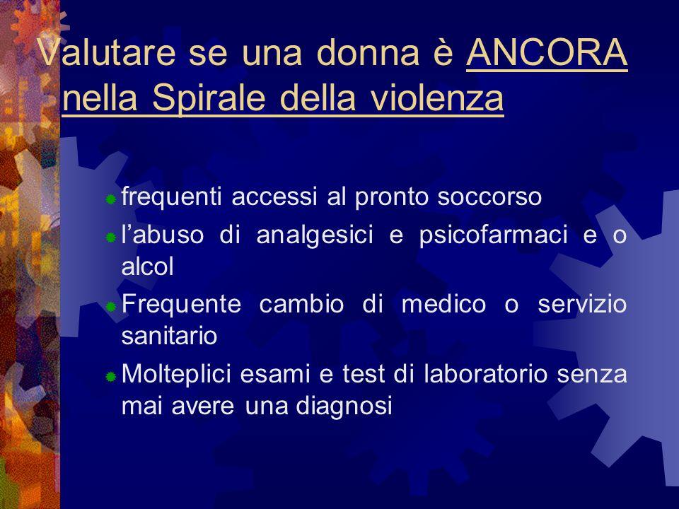Valutare se una donna è ANCORA nella Spirale della violenza frequenti accessi al pronto soccorso labuso di analgesici e psicofarmaci e o alcol Frequen