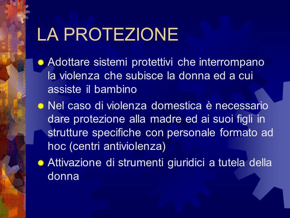LA PROTEZIONE Adottare sistemi protettivi che interrompano la violenza che subisce la donna ed a cui assiste il bambino Nel caso di violenza domestica