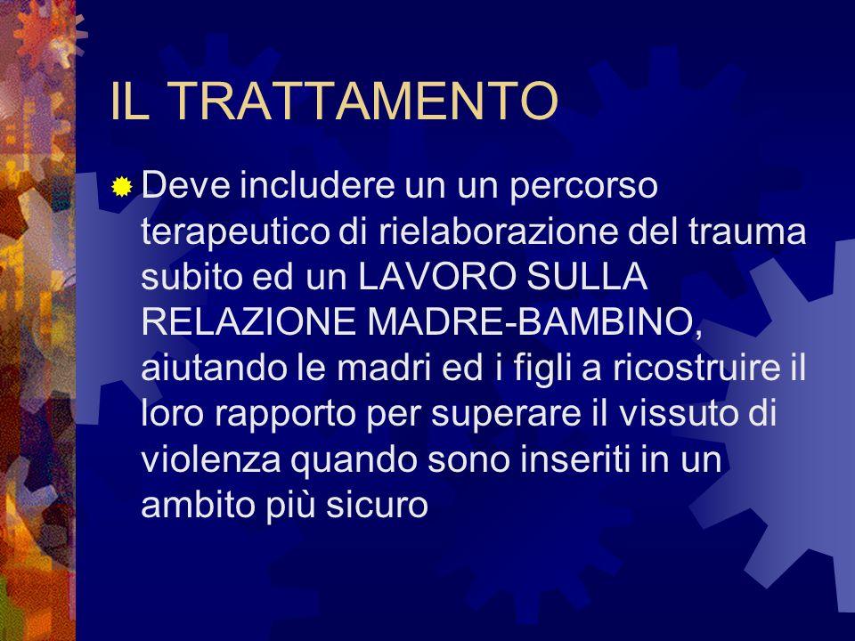IL TRATTAMENTO Deve includere un un percorso terapeutico di rielaborazione del trauma subito ed un LAVORO SULLA RELAZIONE MADRE-BAMBINO, aiutando le m
