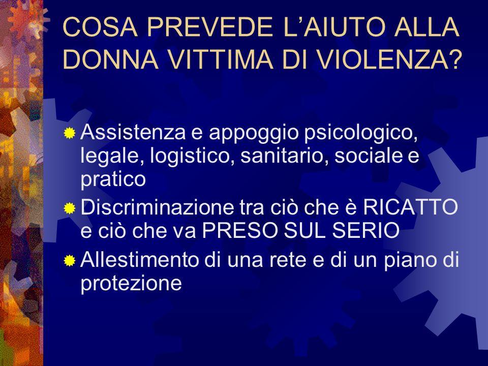 COSA PREVEDE LAIUTO ALLA DONNA VITTIMA DI VIOLENZA.