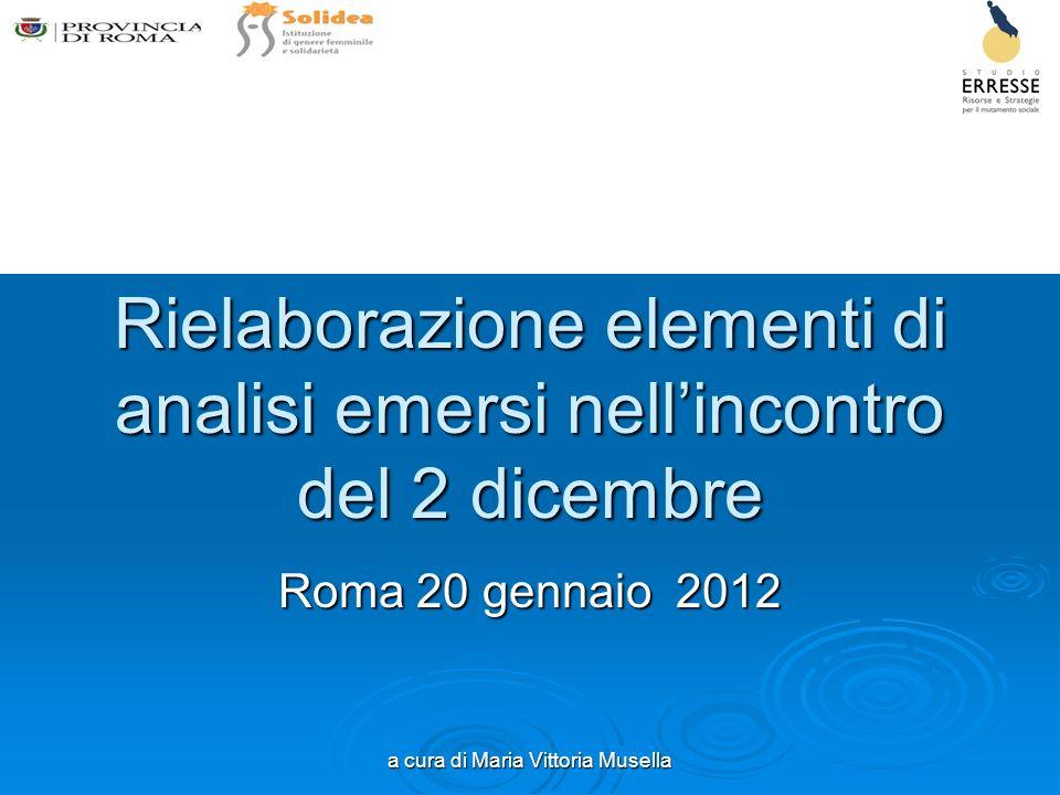 a cura di Maria Vittoria Musella Rielaborazione elementi di analisi emersi nellincontro del 2 dicembre Roma 20 gennaio 2012