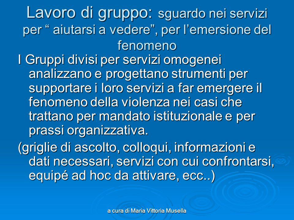 a cura di Maria Vittoria Musella Lavoro di gruppo: sguardo nei servizi per aiutarsi a vedere, per lemersione del fenomeno I Gruppi divisi per servizi