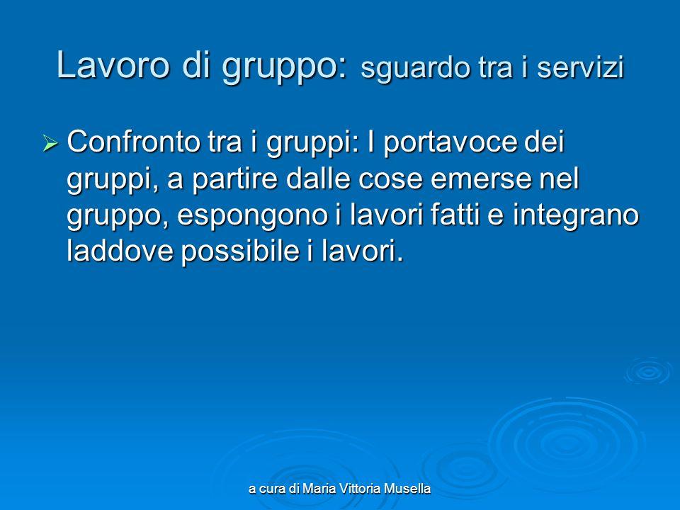 a cura di Maria Vittoria Musella Lavoro di gruppo: sguardo tra i servizi Confronto tra i gruppi: I portavoce dei gruppi, a partire dalle cose emerse n