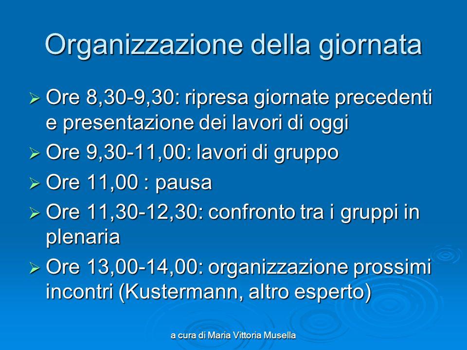 a cura di Maria Vittoria Musella Organizzazione della giornata Ore 8,30-9,30: ripresa giornate precedenti e presentazione dei lavori di oggi Ore 8,30-