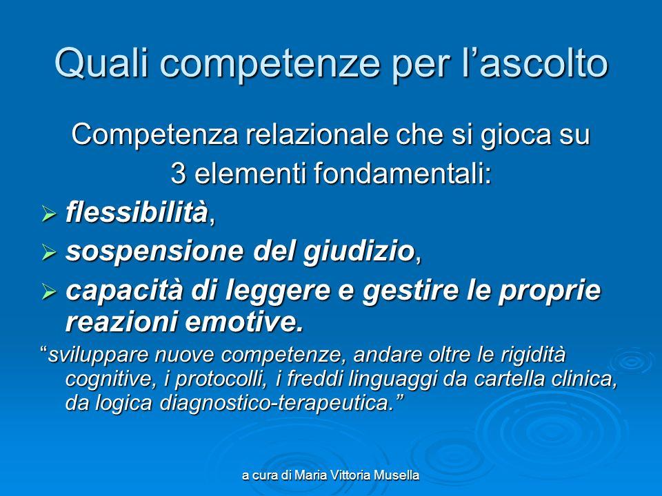 a cura di Maria Vittoria Musella Quali competenze per lascolto Competenza relazionale che si gioca su 3 elementi fondamentali: flessibilità, flessibil