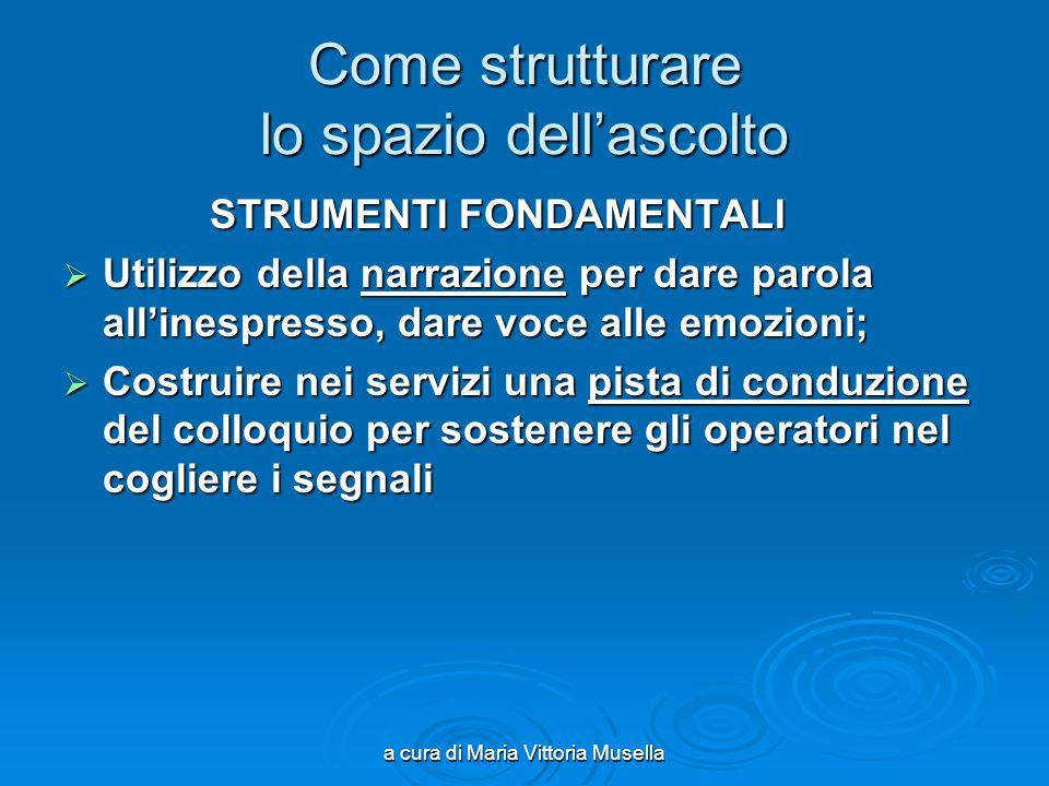 a cura di Maria Vittoria Musella Come strutturare lo spazio dellascolto STRUMENTI FONDAMENTALI STRUMENTI FONDAMENTALI Utilizzo della narrazione per da