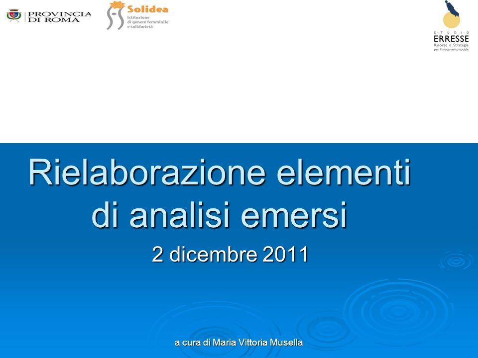 a cura di Maria Vittoria Musella Rielaborazione elementi di analisi emersi 2 dicembre 2011