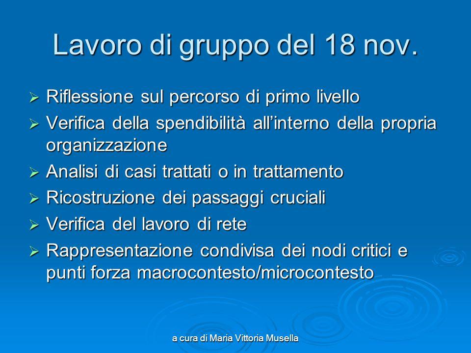 a cura di Maria Vittoria Musella Lavoro di gruppo del 18 nov.