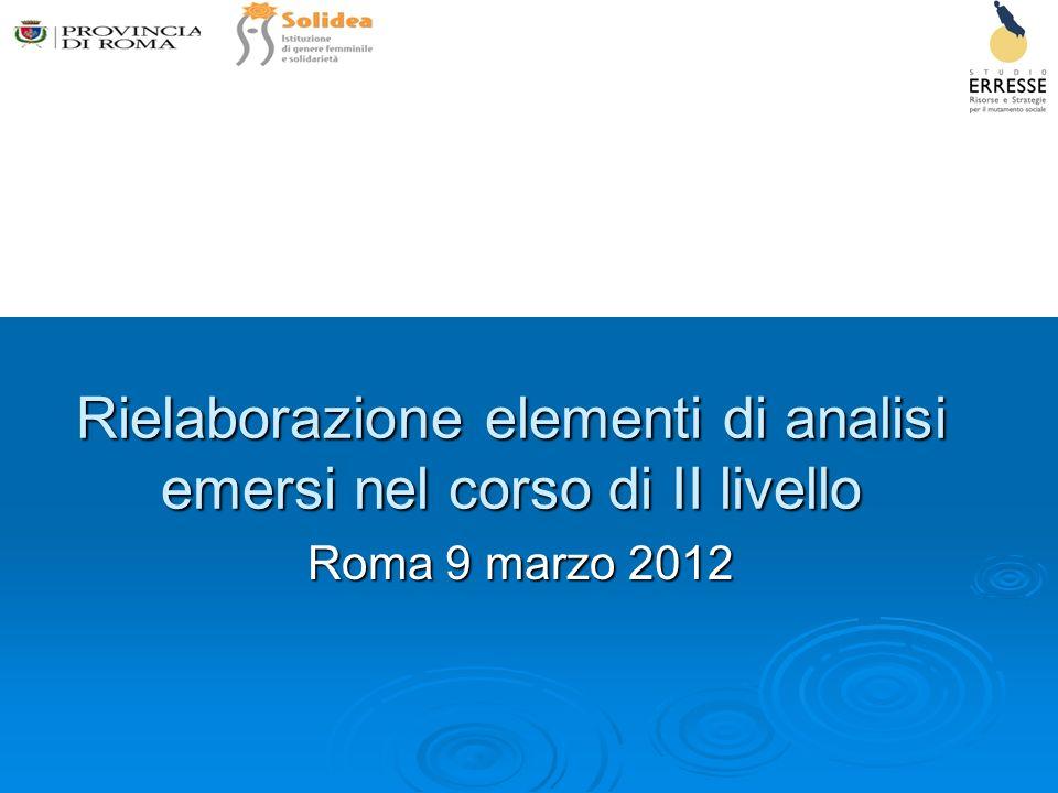 Rielaborazione elementi di analisi emersi nel corso di II livello Roma 9 marzo 2012