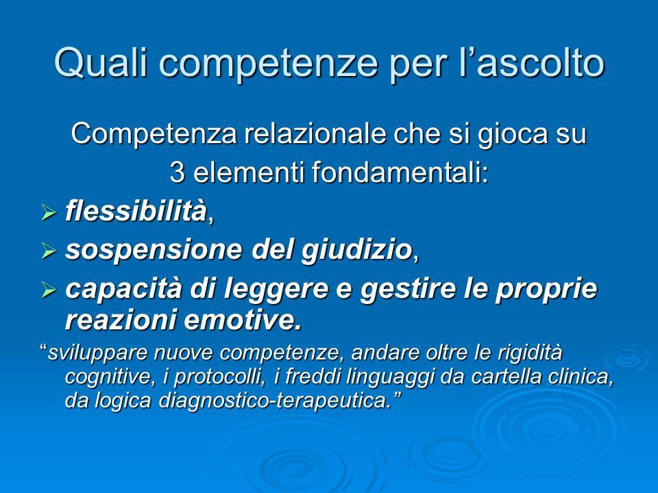 Quali competenze per lascolto Competenza relazionale che si gioca su 3 elementi fondamentali: flessibilità, flessibilità, sospensione del giudizio, so