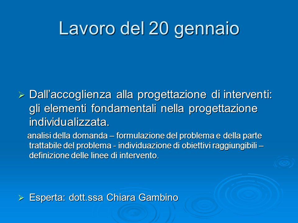 Lavoro del 20 gennaio Dallaccoglienza alla progettazione di interventi: gli elementi fondamentali nella progettazione individualizzata. Dallaccoglienz