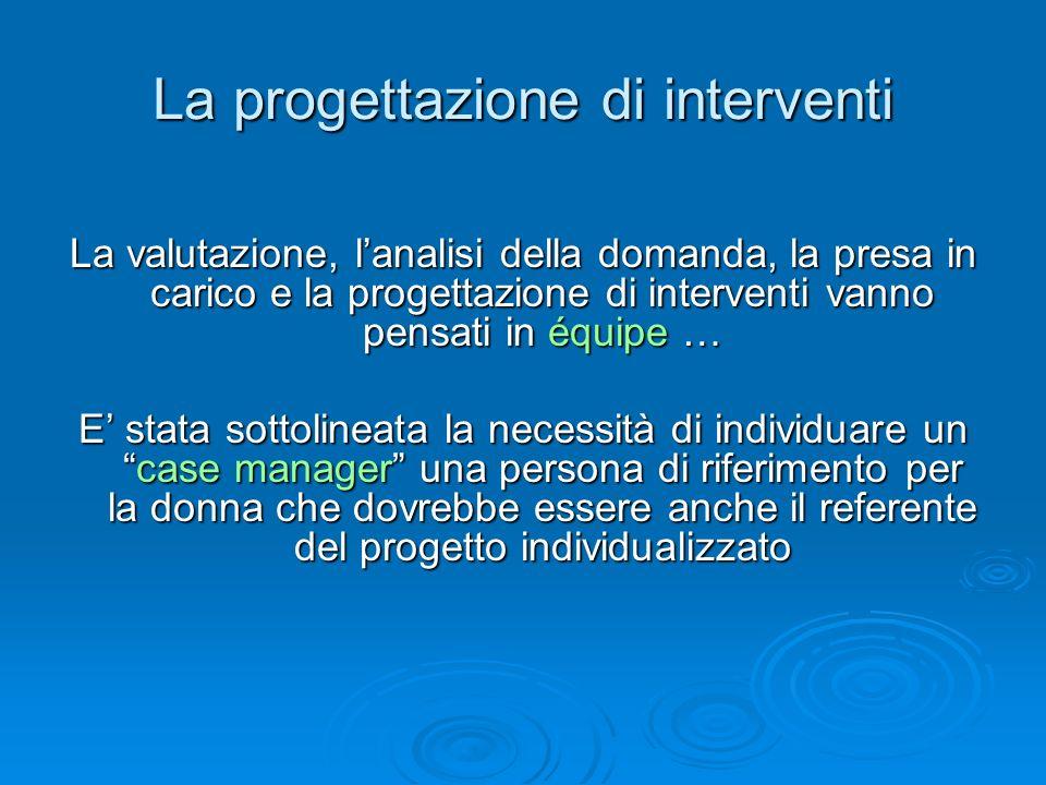 La progettazione di interventi La valutazione, lanalisi della domanda, la presa in carico e la progettazione di interventi vanno pensati in équipe … E