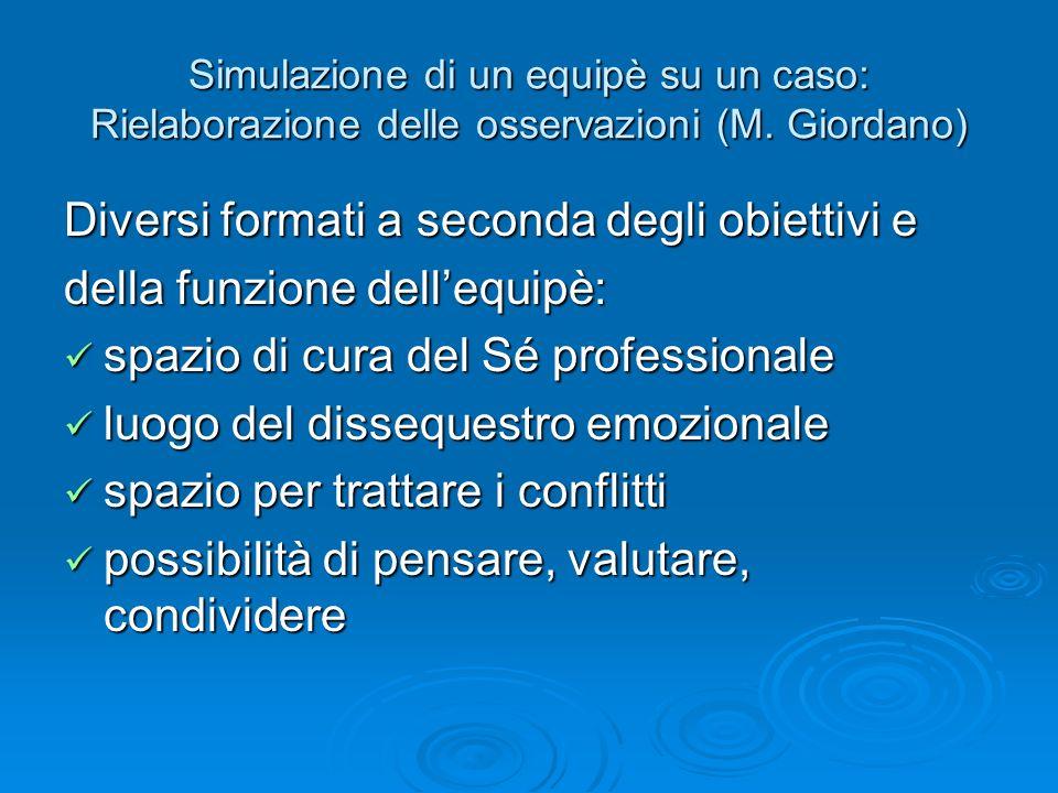 Simulazione di un equipè su un caso: Rielaborazione delle osservazioni (M. Giordano) Diversi formati a seconda degli obiettivi e della funzione delleq
