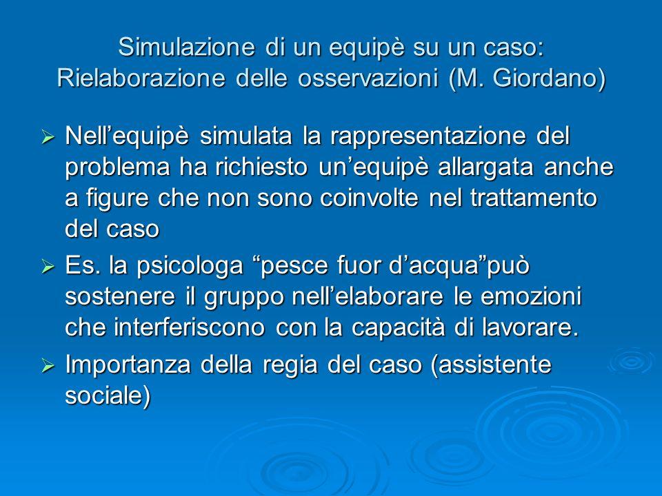Simulazione di un equipè su un caso: Rielaborazione delle osservazioni (M. Giordano) Nellequipè simulata la rappresentazione del problema ha richiesto