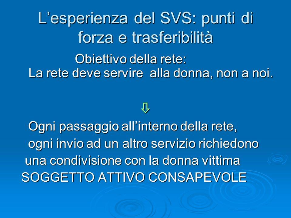 Lesperienza del SVS: punti di forza e trasferibilità Obiettivo della rete: La rete deve servire alla donna, non a noi. Obiettivo della rete: La rete d